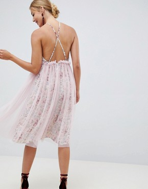 photo Floral Print Midi Dress with Tulle Overlay by ASOS DESIGN, color Floral Print - Image 2