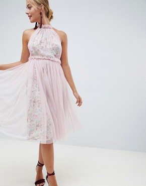 photo Floral Print Midi Dress with Tulle Overlay by ASOS DESIGN, color Floral Print - Image 1