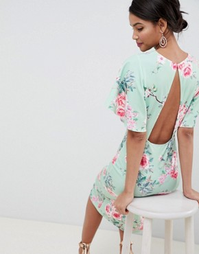 photo Kimono Sleeve Midi Dress with Open Back in Multi by Silver Bloom, color Green Floral - Image 2