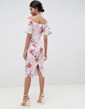 photo Printed Bandeau Dress with Frill Sleeve in Multi by Silver Bloom, color Pink Floral - Image 2