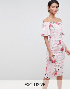 photo Printed Bandeau Dress with Frill Sleeve in Multi by Silver Bloom, color Pink Floral - Image 1