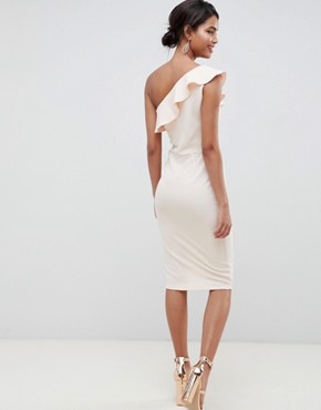 photo Ruffle One Shoulder Dress in Nude by Silver Bloom, color Nude - Image 2