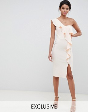 photo Ruffle One Shoulder Dress in Nude by Silver Bloom, color Nude - Image 1