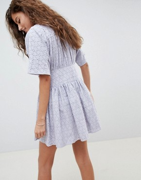 photo Broderie Casual Tea Dress by ASOS DESIGN, color Pale Blue - Image 2