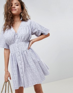 photo Broderie Casual Tea Dress by ASOS DESIGN, color Pale Blue - Image 1