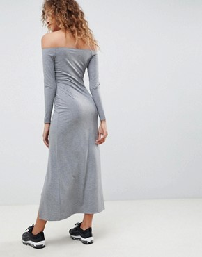 photo Off Shoulder Maxi Dress with Double Split by ASOS DESIGN, color Grey Marl - Image 2