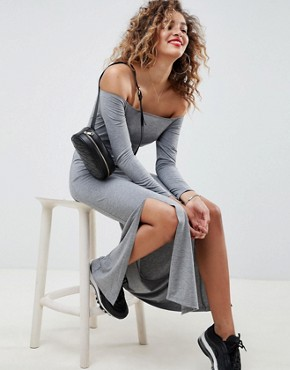 photo Off Shoulder Maxi Dress with Double Split by ASOS DESIGN, color Grey Marl - Image 1