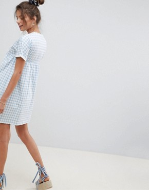photo Cotton Smock Dress in Gingham by ASOS DESIGN Ultimate, color Gingham - Image 2