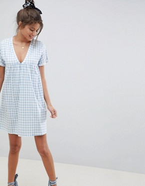 photo Cotton Smock Dress in Gingham by ASOS DESIGN Ultimate, color Gingham - Image 1
