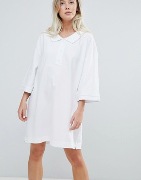 photo Pique Polo Dress in White by Weekday, color White - Image 1