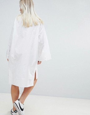 photo Volume Shirt Dress in White by Weekday, color White - Image 2