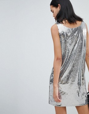 photo Sequin Dress in Silver Sequin by Weekday, color Silver Sequin - Image 2