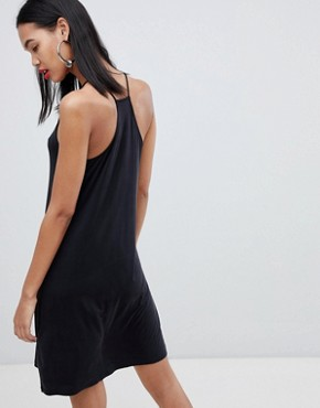photo Cupro Racer Back Dress in Black by Weekday, color Black - Image 2