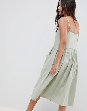 photo Casual Smock Midi Cami Dress by ASOS DESIGN, color Khaki - Image 2