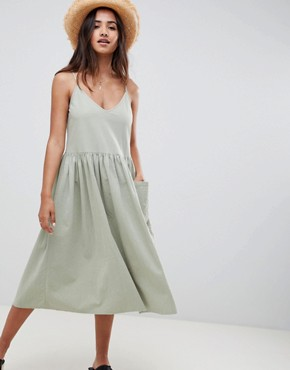 photo Casual Smock Midi Cami Dress by ASOS DESIGN, color Khaki - Image 1
