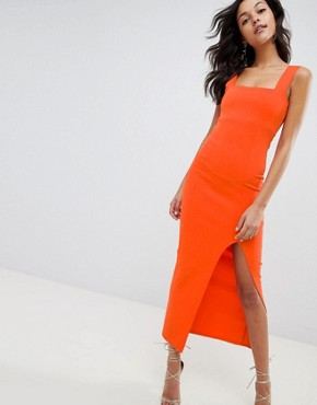 photo Square Neck Scuba Maxi Dress with Thigh Split by ASOS DESIGN, color Hot Orange - Image 1