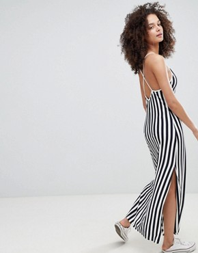 photo Stripe Cami Maxi Dress in Navy by Bershka, color Navy Blue - Image 2