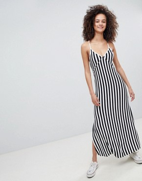 photo Stripe Cami Maxi Dress in Navy by Bershka, color Navy Blue - Image 1