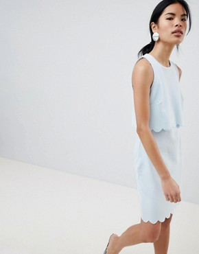 photo Scallop Edge Shift Dress by New Look, color Light Blue - Image 1