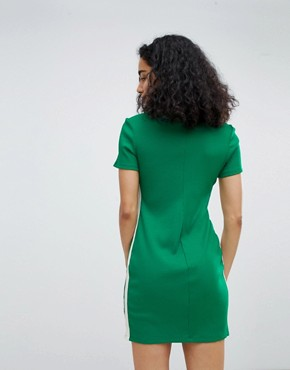 photo Zip Detail Polo Dress in Green by Bershka, color Green - Image 2