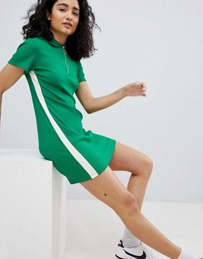 photo Zip Detail Polo Dress in Green by Bershka, color Green - Image 1