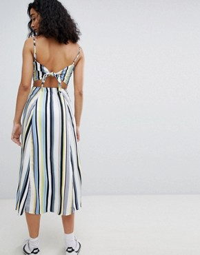 photo Cut Out Stripe Button Detail Midi Dress by Bershka, color Multi - Image 2