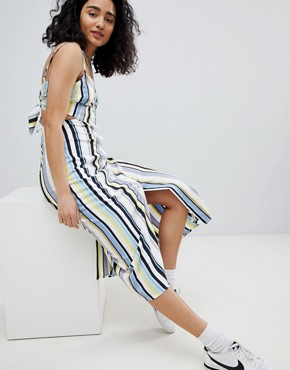 photo Cut Out Stripe Button Detail Midi Dress by Bershka, color Multi - Image 1