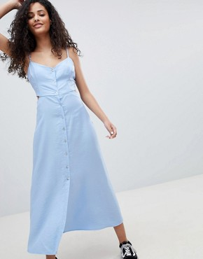 photo Cut Out Button Detail Midi Dress in Blue by Bershka, color Light Blue - Image 1