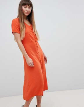 photo Button Front Midi Tea Dress by New Look, color Orange - Image 1