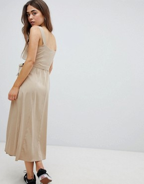 photo Utility Dress in Beige by Bershka, color Beige - Image 2