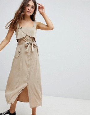 photo Utility Dress in Beige by Bershka, color Beige - Image 1