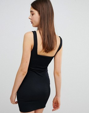 photo Square Neck Rib Mini Dress by New Look, color Black - Image 2