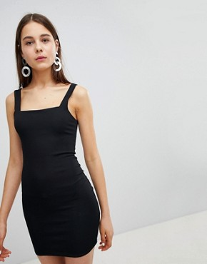 photo Square Neck Rib Mini Dress by New Look, color Black - Image 1