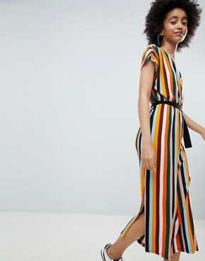 photo Stripe Midi Dress in Orange by Bershka, color Orange - Image 1