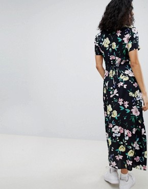 photo Floral Midi Shirt Dress in Black by Bershka, color Black - Image 2