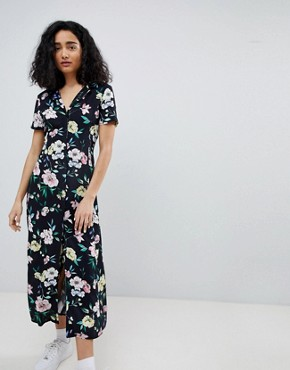photo Floral Midi Shirt Dress in Black by Bershka, color Black - Image 1