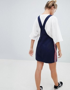 photo Dungaree Dress in Navy by Bershka, color Navy Blue - Image 2