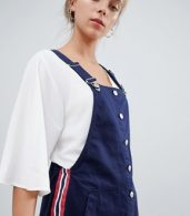 photo Dungaree Dress in Navy by Bershka, color Navy Blue - Image 3