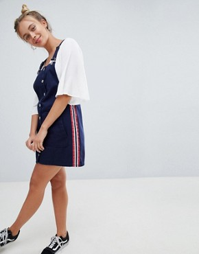 photo Dungaree Dress in Navy by Bershka, color Navy Blue - Image 4