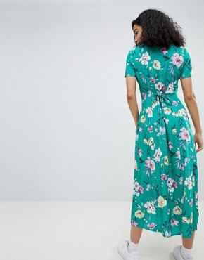 photo Floral Midi Shirt Dress in Green by Bershka, color Green - Image 2