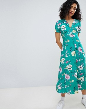 photo Floral Midi Shirt Dress in Green by Bershka, color Green - Image 1