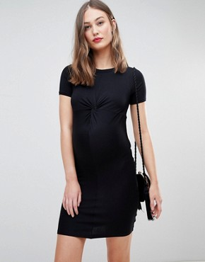 photo Twist Front Bodycon Dress by New Look Maternity, color Black - Image 1