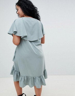 photo Mini Tea Dress with Cape Back Detail by ASOS DESIGN Curve, color Blue - Image 2