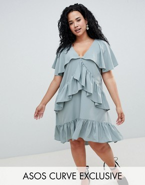 photo Mini Tea Dress with Cape Back Detail by ASOS DESIGN Curve, color Blue - Image 1