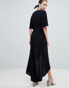 photo Wrap Asymmetric Dress by New Look, color Black - Image 2