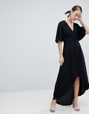photo Wrap Asymmetric Dress by New Look, color Black - Image 1