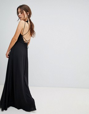 photo Strappy Back Maxi Dress by New Look, color Black - Image 2