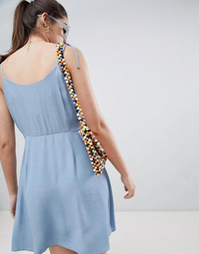 photo Button Through Strappy Sundress by New Look, color Mid Blue - Image 2