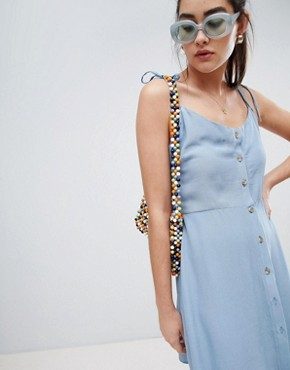 photo Button Through Strappy Sundress by New Look, color Mid Blue - Image 1