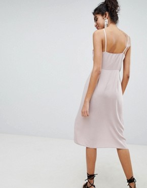 photo Button Through Wrap Dress by New Look, color Nude - Image 2